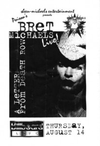 Bret Michaels Show Flyer, Billboard Love
